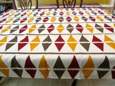 Table Cloth #43 Crisp Linen With SW Design, Small, Up Cycled Fabric