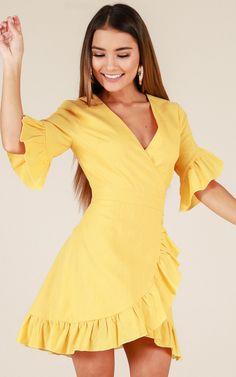 Showpo Balmy Night dress in yellow - 14 (XL) Casual Dresses