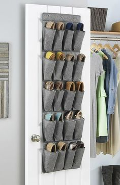 12 brilliant shoe storage ideas that will keep your footwear organized - 10 Pair over-door shoe organizer. Hang this on the front or back of a bedroom or closet door to minimize the space taken to store a large shoe collection. Wall Mounted Shoe Storage, Hanging Shoe Organizer, Shoe Storage Rack, Door Organizer, Diy Storage, Shoe Storage Ideas Bedroom, Over Door Shoe Storage, Shoe Cubby, Shoes Organizer