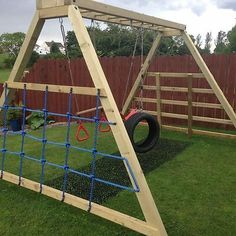 Diy Outdoor Play Areas For Kids Backyard Ideas Wooden Climbing Frame, Wooden Swings, Wooden Swing Set Plans, Climbing Frames, Kids Climbing, Backyard Swings, Backyard For Kids, Backyard Seating, Modern Backyard Play