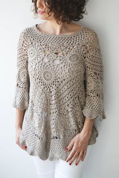 NEW Spring 2014 Latte Crochet Sweater by Afra by afra on Etsy