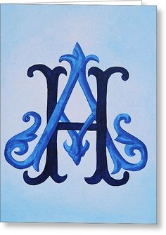 Entwined Victorian Monogram Greeting Card by Katie Fitzgerald