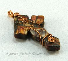 Wire Wrapped Picasso Jasper & Pyrite Cross by ArtisticTouches, $24.00