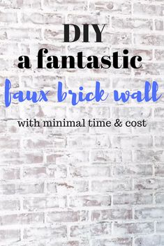 Learn how to DIY a faux brick wall! Nobody will be able to tell its fake. Complete it in an afternoon under budget! Modern Farmhouse Decor, Farmhouse Style Decorating, Interior Design Inspiration, Decor Interior Design, Faux Brick Walls, Diy Home Improvement, Decoration, Diy Home Decor, Room Decor