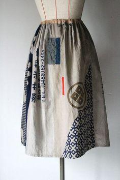 Japanese vintage TENUGUI skirt/brown/Japanese by SASAKIYOHINTEN