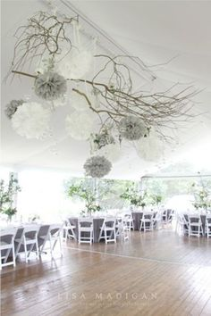 Love those ceiling pieces. It& a good way to make a tent look formal! Tent Wedding, Rustic Wedding, Our Wedding, Wedding Venues, Dream Wedding, Wedding Poms, Wedding Grey, Wedding Fair, Bouquet Wedding