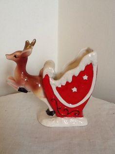 Vintage Christmas Reindeer Planter