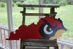 Louisville Cardinal Bird on Kentucky State by CraftyCreationsMD