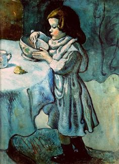 The Greedy Child, Pablo Picasso, 1901 #art #artist #artists #painter #painting #paintings #nomnom #olivertwist #canihavesomemore
