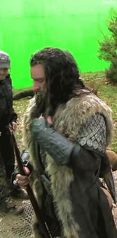 """(gif) - Majestic Hair-Flip. If it weren't for the whole dwarf/elf thing, I think that Thorin and Thranduil would be besties. They would just walk around town being all magnificent like, """"You can't touch this."""""""