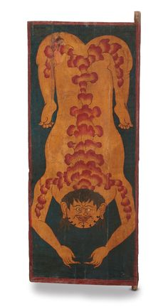 The Earth conceived by #Rajeev Sethi has a composition of 64 tiger doors from North East India. This example depicts a bearded man, flayed (Tibetan: g.yang gzbi) and spread-eagled – a gruesome image reminiscent to the Tantric ritual of dismemberment where  force of nature takes a body down to the bone. The red patterning on skin may suggest the internal organs or .This served as reminders of the impermanence of human existence and an exhortation to renounce sexual desire.