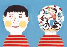 Laurent Moreau - a che pensi? Children's Book Illustration, Character Illustration, Watercolor Illustration, Bicycle Illustration, Laurent Moreau, Art Party, Creative Portraits, Book Art, Character Design