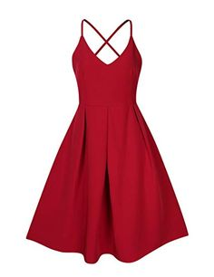 59c5ed92c7f Amazon.com  GlorySunshine Women s Deep V Neck Adjustable Spaghetti Straps  Dress Sleeveless Sexy Backless