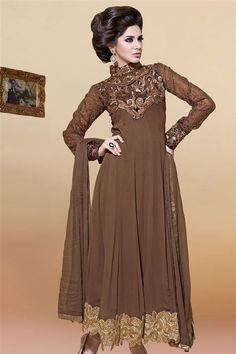 Stunning Chocolate Georgette Embroidered Designer Anarkali Suit
