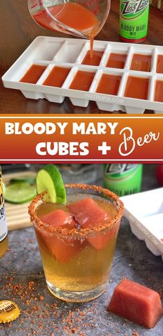 Bloody Mary Cubes and Beer (plus 4 more cocktail cube ideas) Cocktail Party Food, Cocktail Drinks, Fun Drinks, Yummy Drinks, Cocktail Recipes, Drink Recipes, Happy Hour Drinks, Alcoholic Beverages, Mixed Drinks