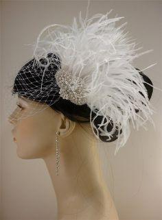 Vintage+Style+Bridal+Hair+Fascinator,+Bridal+Fascinator+with+Veil+or+without,+Fascinator,+Ostrich+Fascinator,+Bridal+Fascinator,+Wedding+Access…