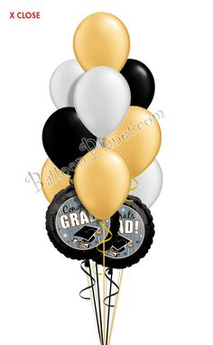 Classy Grad Balloon Bouquet (12 Balloons) Graduation Balloons, Balloon Delivery, Balloon Bouquet, Holidays And Events, Cake Ideas, Celebrations, Gifts, Birthday Cake, Classy