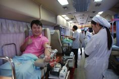 Blood Donation Camp organized at the Asian Institute of Technology (AIT) by the Thai Red Cross Society.