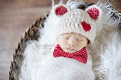 Newborn+Valentine+Bear+Hat+and+Bow+Tie+Set+by+whimsylaneboutique,