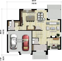 Two-storey house - 21466 Two Story House Plans, Family House Plans, Modern House Plans, Small House Plans, Modern House Design, House Floor Plans, Small Modern Home, Sims House, Home Projects