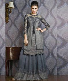 Buy Gray Net Indo Western Lehenga Choli 71940 online at best price from vast collection of Lehenga Choli and Chaniya Choli at Indianclothstore.com.