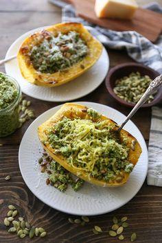 Spaghetti Squash with Broccoli-Pumpkin Seed Pesto