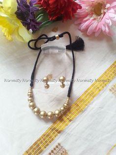 antique gold thread jewelry-terracotta jewelry-gold terracotta necklace set-versatile terracotta jewellery-daily wear terracotta choker by NIRMITY on Etsy