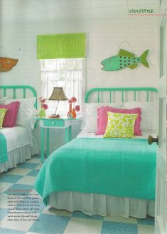 #Girls #Coastal #Bedroom ideas in adorable turquoise, pink, and yellow tones via Jane Coslick Cottage
