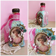 Διακόσμηση μπουκαλιού με χρώματα νερού, chipboard, χάρτινα λουλούδια και modeling paste.