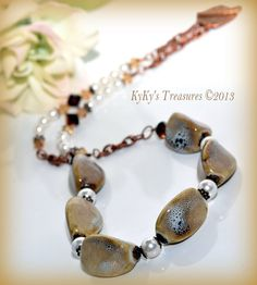 Distressed Honey Porcelain & Copper Necklace by KyKysTreasures, $28.00