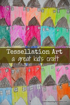 Tessellation Art for Kids {meaningfulmama} Escher Kunst, Escher Art, Mc Escher, Art Activities For Kids, Preschool Art, Art For Kids, Craft Kids, Kids Math, Preschool Worksheets