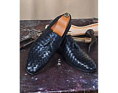 Mens Luxury Shoes : TucciPolo Borlo-BB Calfskin Chequeboard Weave Mens Stylish Italian Leather Loafer Shoe