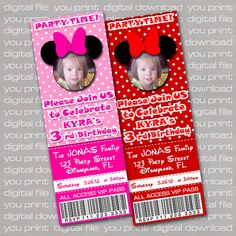 Mickey Mouse Minnie Mouse Ticket Sized Birthday Invitations You