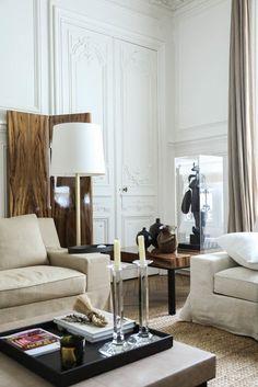 Canapé blancs Luminaire Salon Dorothée Boissier Appartement Gilles & Boissier
