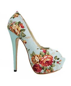 PU Leather Platform Peeptoe with Flower Print Details
