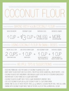 Coconut Flour Conversion Chart - coconut flour is amazing and gluten-free, but it works a bit differently than most other flours. This smart chart helps you understand how to use it. Baking With Coconut Flour, Coconut Flour Recipes, Thm Recipes, Baking Flour, Gluten Free Recipes, Real Food Recipes, Cooking Recipes, Almond Flour, Recipies