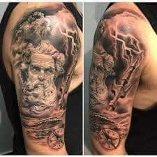 What does poseidon tattoo mean? We have poseidon tattoo ideas, designs, symbolism and we explain the meaning behind the tattoo. Gods Tattoo, Greek God Tattoo, Cool Tattoos For Guys, Badass Tattoos, Body Art Tattoos, Poseidon Tattoo, Realistic Tattoo Sleeve, Leg Sleeve Tattoo, Ancient Greek Tattoo