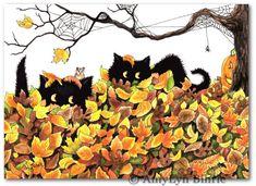 Kunstdrucke von Bihrle pb241 Peek n Boo schwarz Katzen Halloween Hamster Pumkin Autumn Leaves-