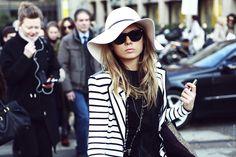 fedora and striped blazer