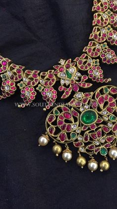 Gold Antique Kemp Necklace Designs, Latest Gold Kemp Jewellery Models, Kemp Ruby Necklace Designs.