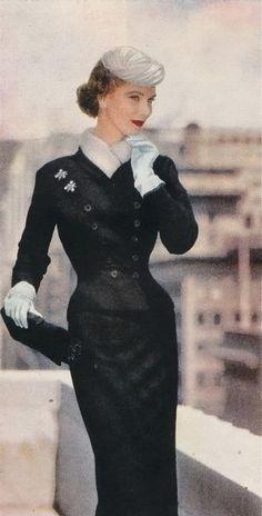 1953 color photo black suit white gloves scarf hat model magazine 50s skirt jacket pencil belt