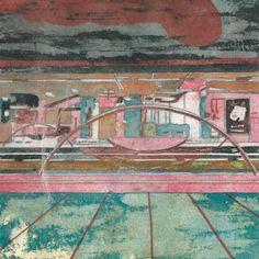 Métro #4 - Peinture,  14x14 cm ©2015 par Le Frigo (GONIN SOJAC) -                                                            Art figuratif, Papier, Paysage urbain, gonin, sojac, le frigo