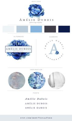Branding Package Blue Peony - Grey Watercolor - Custom Branding - Graphic Design - Watermark - Blog Logo - Brand Identity - Wedding Logo
