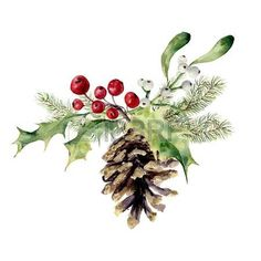 Image result for watercolor holly leaves