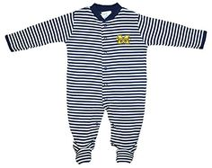 Michigan Wolverines NCAA College Newborn Baby Long Sleeve Footed Romper Striped 69 * Click image for more details. (This is an affiliate link) #BabyBoyFootiesandRompers