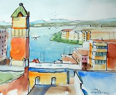 "Artist Ron Wilson - Canada: Urban Sketch ""Victoria Harbour from the Bay Centre..."