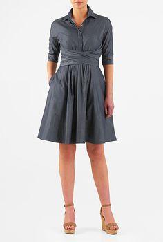 I <3 this Asymmetric sash tie cotton chambray shirtdress from eShakti