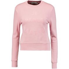 Etre Cecile - Je Parle Martien Flocked Cotton Sweatshirt (240 BRL) ❤ liked on Polyvore featuring tops, hoodies, sweatshirts, pink, pink top, slogan sweatshirts, animal print tops, animal print sweatshirt and cotton sweatshirts