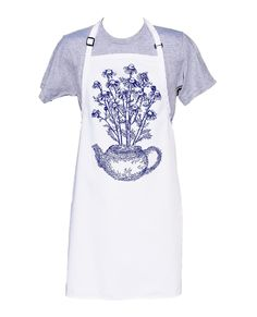 Kitchen Apron - BBQ Apron - Chefs Apron - Long Apron - Gardener Gifts - Cooking Gift Ideas - Tea Drinker Gift - Chamomile tea - Botanical Bbq Apron, Chef Apron, Chamomile Tea, Gifts For Cooks, Kitchen Aprons, Garden Gifts, Hand Designs, Chefs, Tea Pots