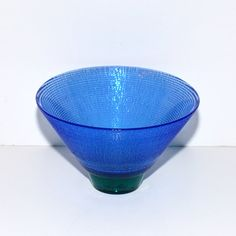 Hadeland Norway Blue & Green Glass Footed Bowl by DesignSoldier, $45.00